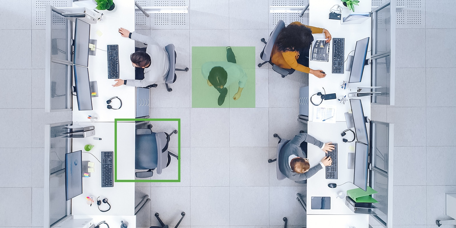 Overhead view of workers in an office
